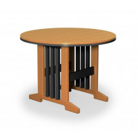 "Keystone 60"" Round Poly Dining Table - Cedar & Black"
