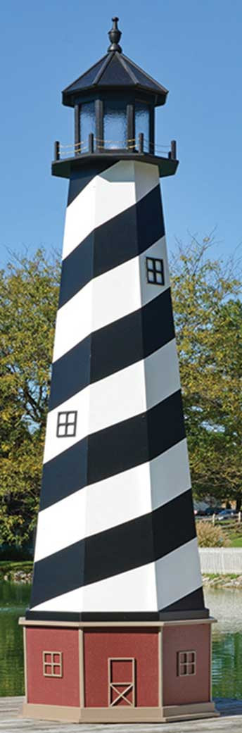 12' Amish Crafted Wood Garden Lighthouse w/ Base - Cape Hatteras - Black & White