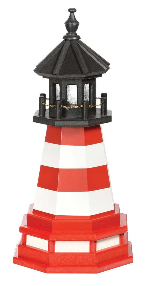 2' Amish Crafted Wood Garden Lighthouse w/ Base - Assateague - Cardinal Red & White