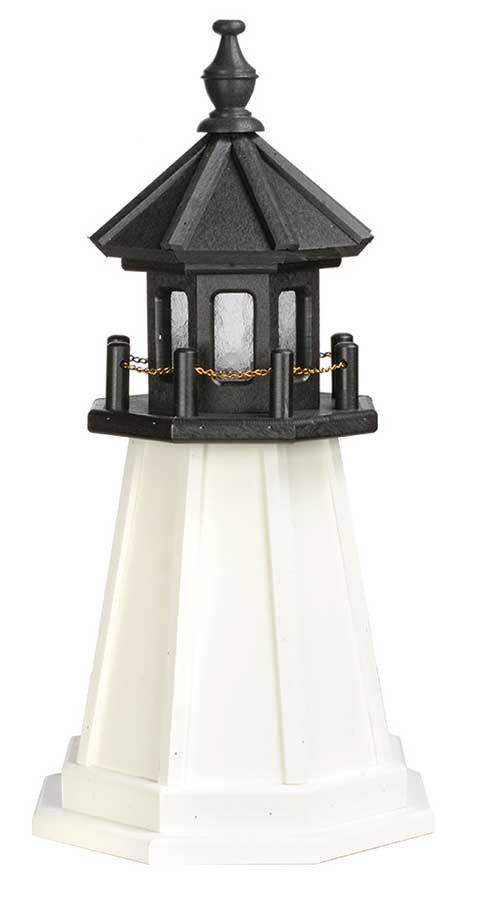 2' Amish Crafted Wood Garden Lighthouse - Cape Cod & Cape Florida - Black & White