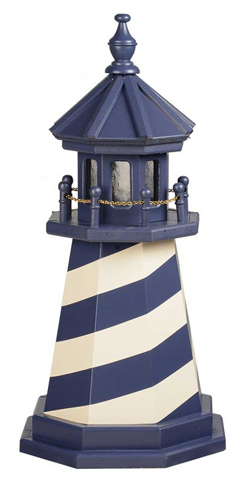 2' Amish Crafted Wood Garden Lighthouse - Cape Hatteras - Patriot Blue & Ivory