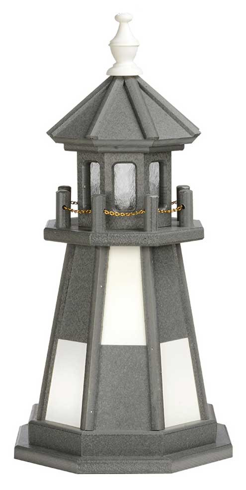 2' Amish Crafted Wood Garden Lighthouse - Cape Henry - Dark Grey & White