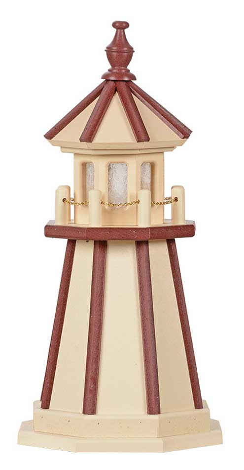 2' Amish Crafted Wood Garden Lighthouse - Custom Painted - Ivory & Cherrywood