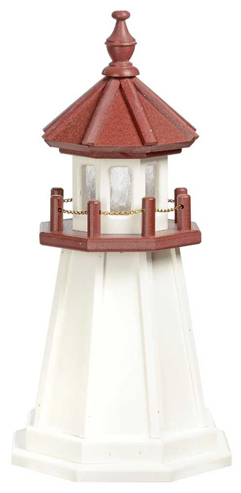 2' Amish Crafted Wood Garden Lighthouse - Marblehead - White & Cherrywood