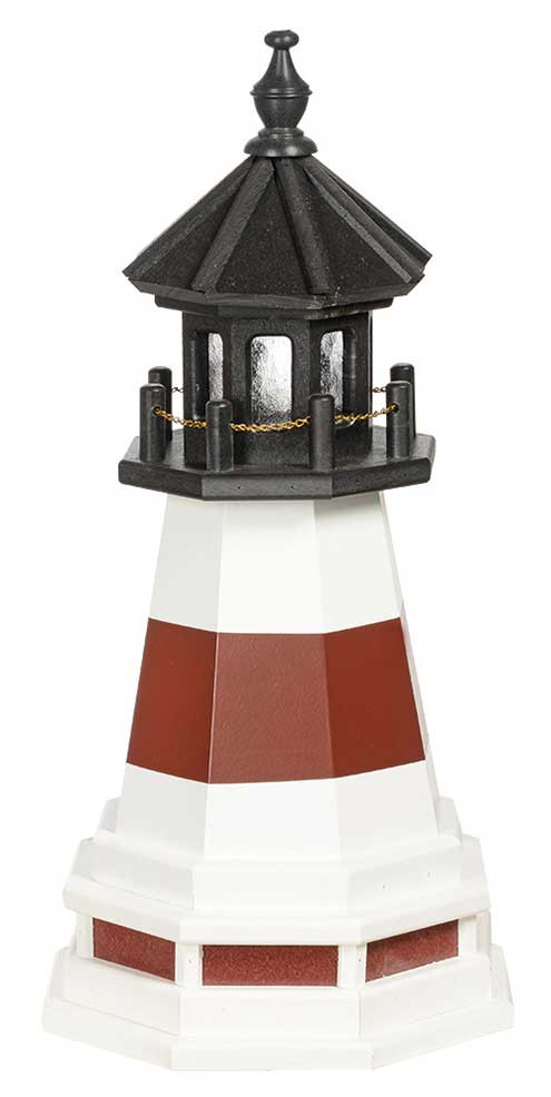 2' Amish Crafted Wood Garden Lighthouse w/ Base - Montauk - White & Cherrywood