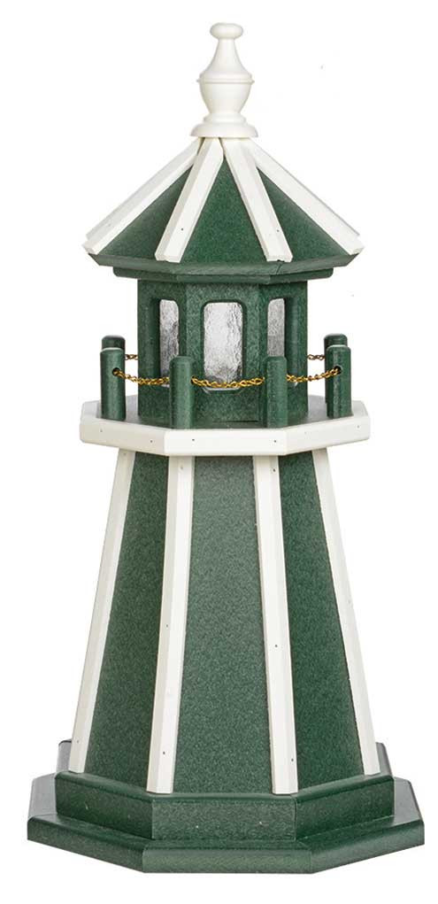 2' Amish Crafted Wood Garden Lighthouse - Custom Painted - Turf Green & White
