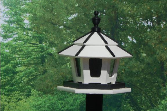 3 Compartment Bird Feeder - White & Black