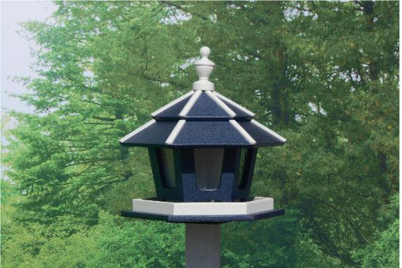 3 Compartment Bird Feeder - Navy & White