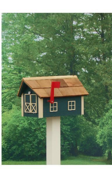 Traditional Dutch Barn Mailbox - Hunter & Beige