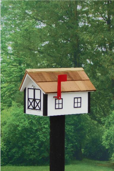 Traditional Dutch Barn Mailbox - Whie & Black