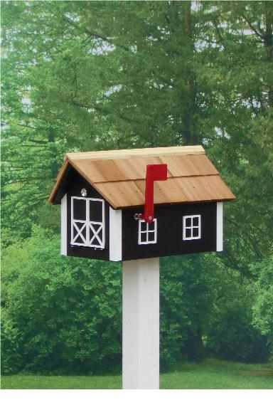 Traditional Dutch Barn Mailbox - Black & White