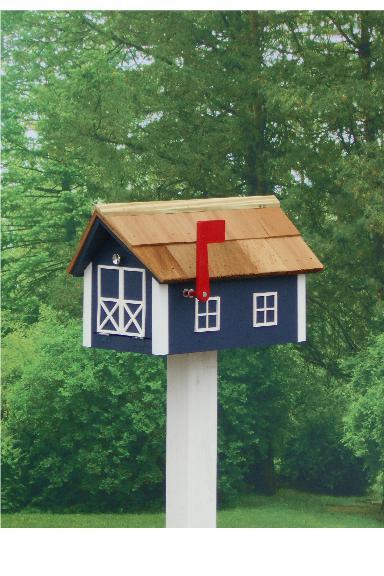 Traditional Dutch Barn Mailbox - Navy & White