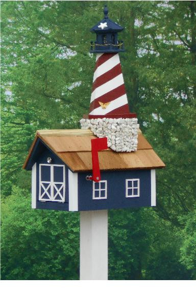Traditional Lighthouse Mailbox - Stars & Stripes
