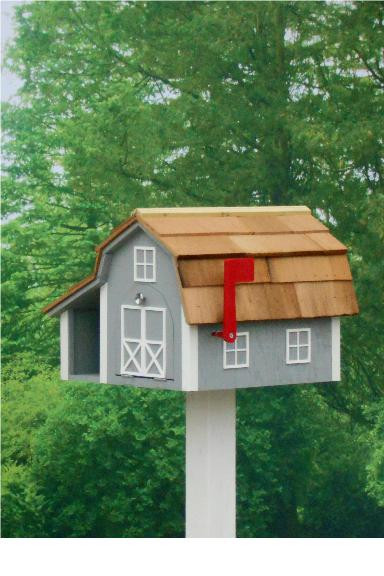 Traditional Barn Mailbox Combo - Cape Cod Gray & White