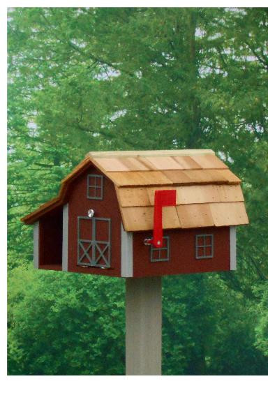 Traditional Barn Mailbox Combo - Red & Gray