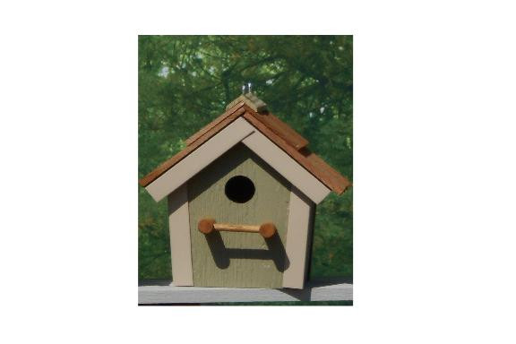 Cedar Roof Birdhouse - Wildgrasses & Beige