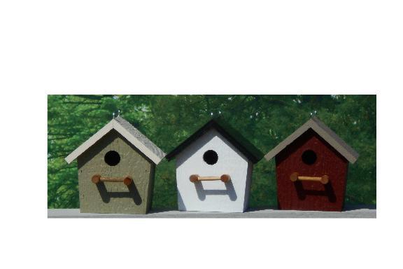 Plain Birdhouse - Wildgrasses & Off White, White & Black, Red & Clay