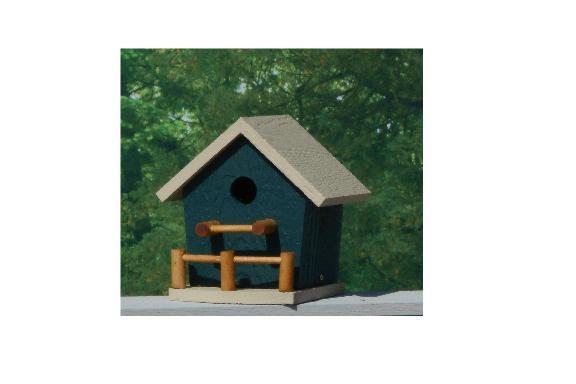 Birdhouse with Porch - Hunter & Beige