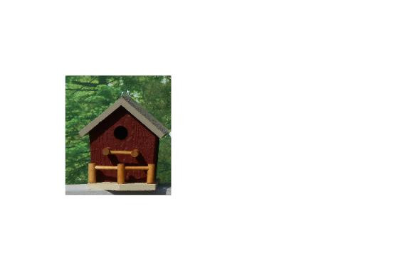 Birdhouse with Porch - Red & Clay
