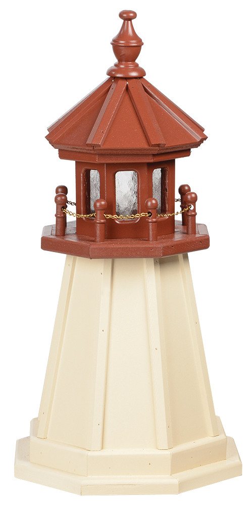 2' Amish Crafted Wood Garden Lighthouse - Cape May - Ivory & Cherrywood