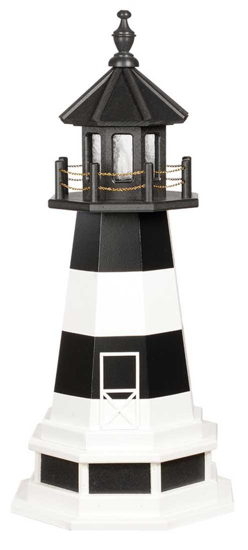 3' Amish Crafted Wood Garden Lighthouse w/ Base - Bodie Island - Black & White