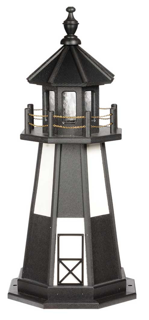 3' Amish Crafted Wood Garden Lighthouse - Cape Henry - Black & White