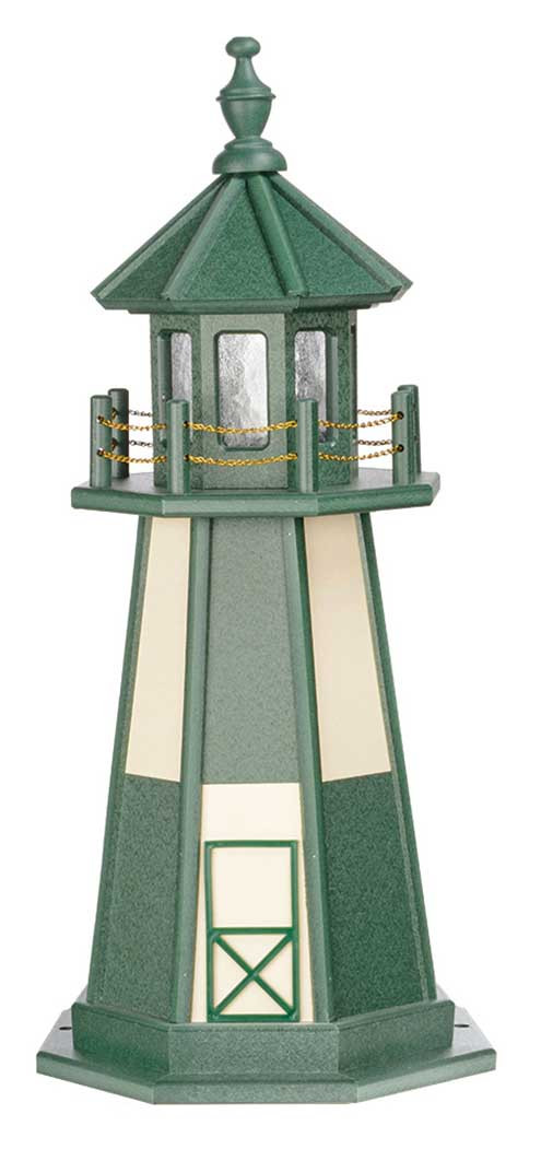3' Amish Crafted Wood Garden Lighthouse - Cape Henry - Turf Green & Ivory