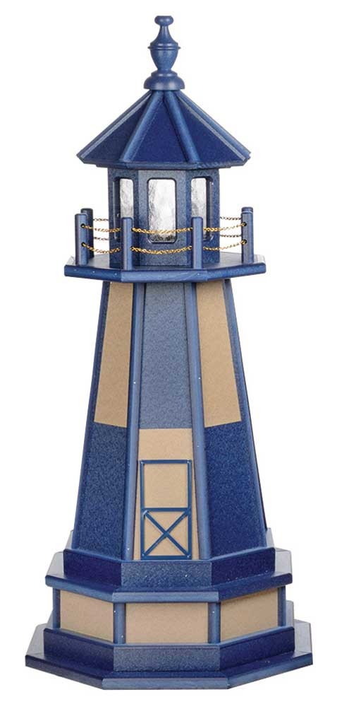 3' Amish Crafted Wood Garden Lighthouse w/ Base - Cape Henry - Patriot Blue & Weatherwood