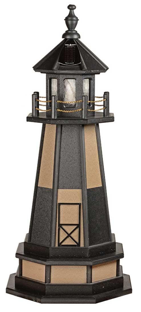 3' Amish Crafted Wood Garden Lighthouse w/ Base - Cape Henry - Black & Weatherwood