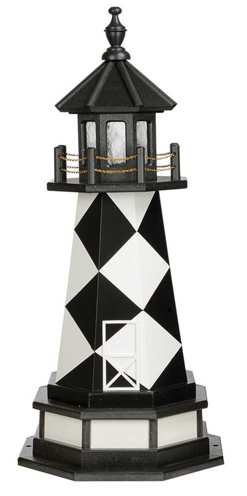 3' Amish Crafted Wood Garden Lighthousew/ Base - Cape Lookout - Black & White