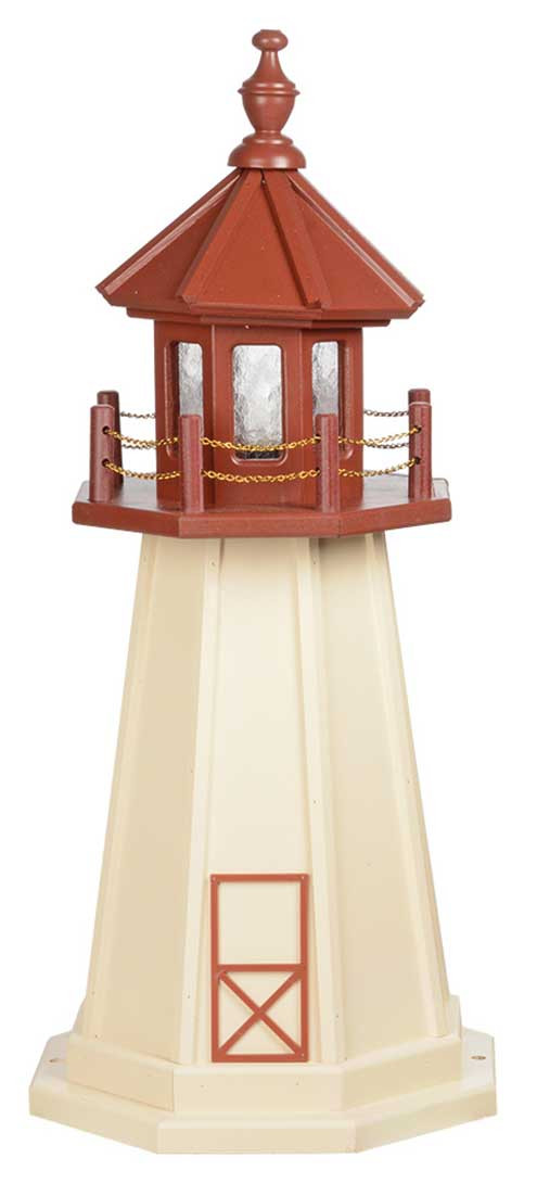 3' Amish Crafted Wood Garden Lighthouse - Cape May - Ivory & Cherrywood