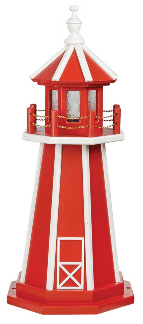 3' Amish Crafted Wood Garden Lighthouse - Custom Painted - Cardinal Red & White