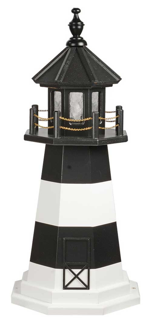 3' Amish Crafted Wood Garden Lighthouse - Fire Island - Black & White