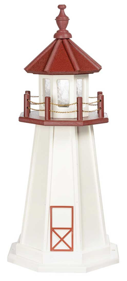 3' Amish Crafted Wood Garden Lighthouse - Marblehead - White & Cherrywood