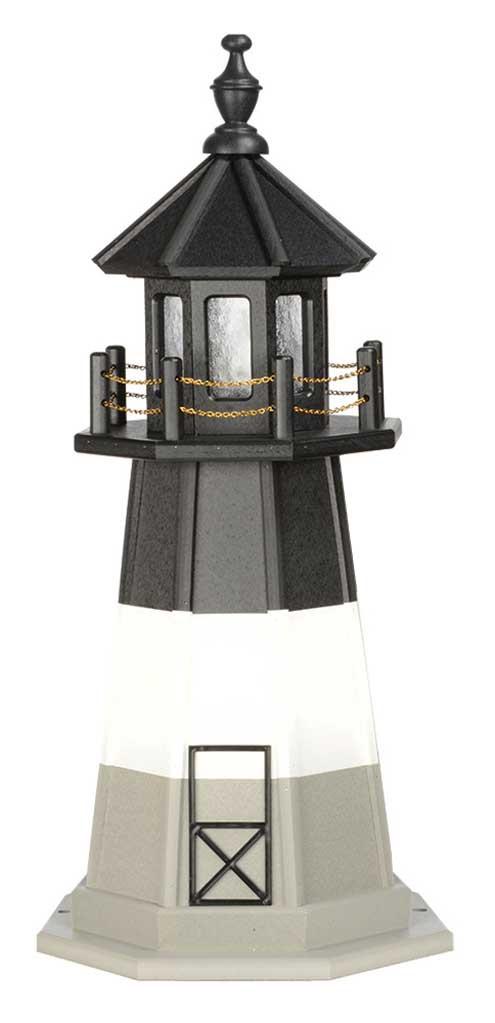 3' Amish Crafted Wood Garden Lighthouse - Oak Island - Black, White & Light Grey