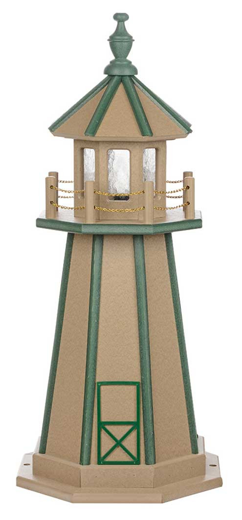 3' Amish Crafted Wood Garden Lighthouse - Custom Painted - Weatherwood & Turf Green