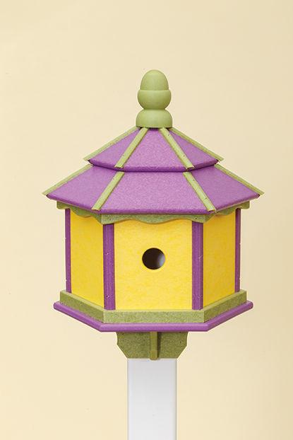 3 Hole Hexagon Polywood Birdhouse - Purple/Lime/Yellow - Post Mount