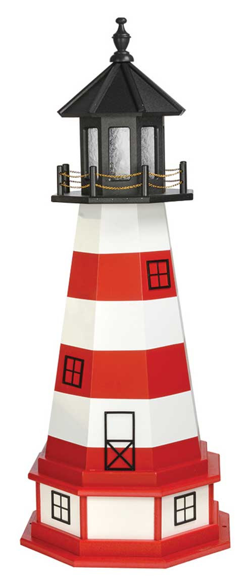 4' Amish Crafted Wood Garden Lighthouse w/ Base - Assateague - Cardinal Red & White