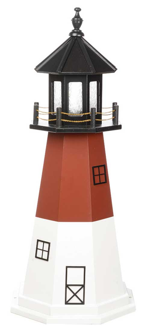 4' Amish Crafted Wood Garden Lighthouse - Barnegat  - Cherrywood & White