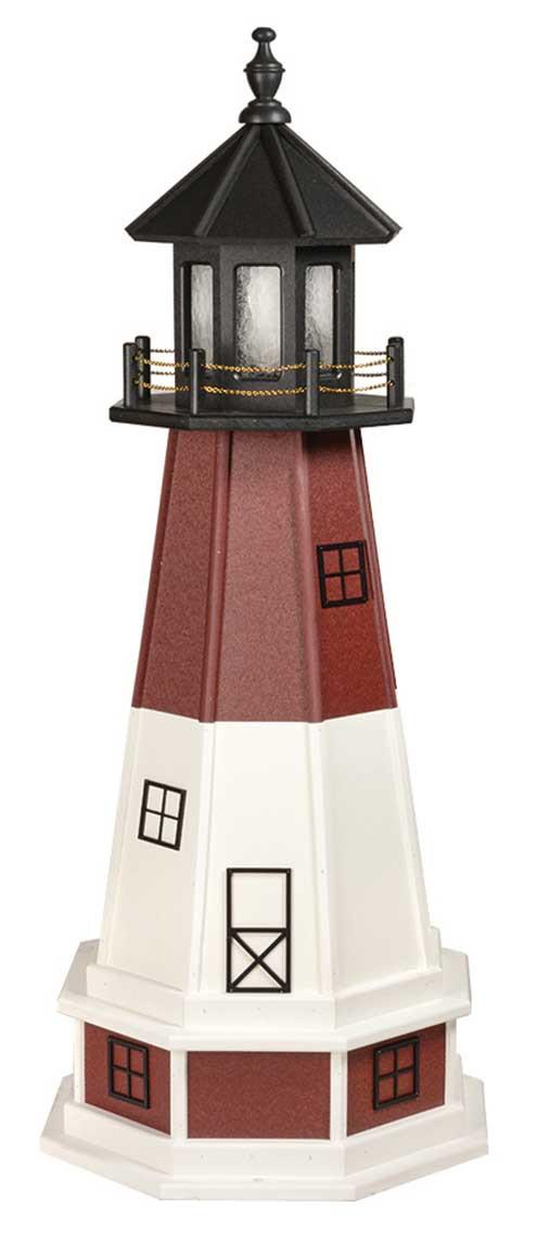 4' Amish Crafted Wood Garden Lighthouse w/ Base - Barnegat  - Cherrywood & White