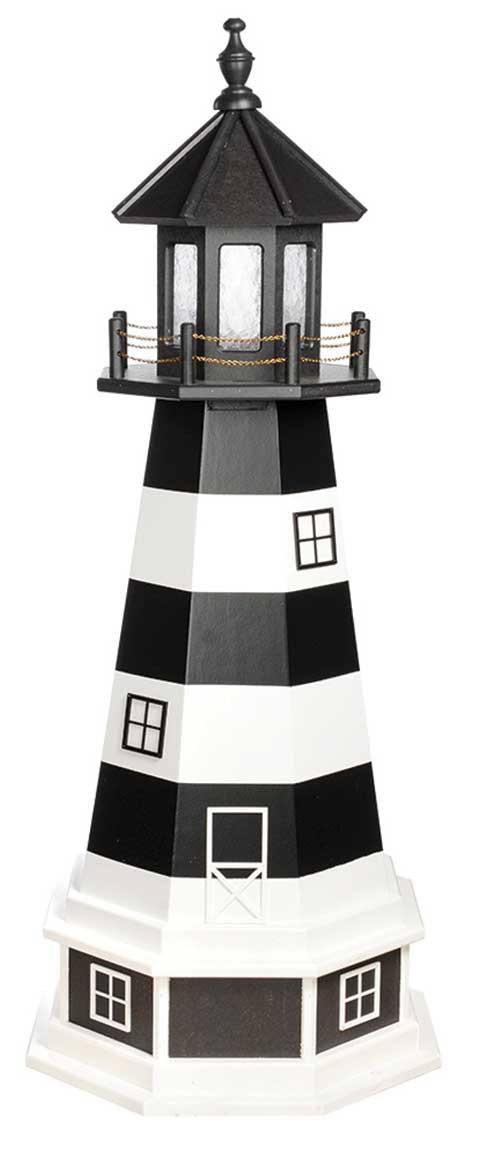 4' Amish Crafted Wood Garden Lighthouse w/ Base - Bodie Island - Black & White