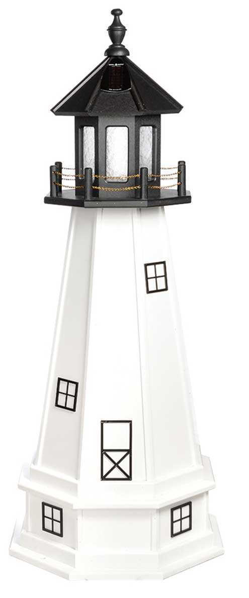 4' Amish Crafted Wood Garden Lighthouse w/ Base - Cape Cod & Cape Florida - Black & White