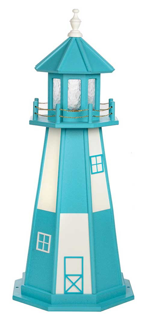 4' Amish Crafted Wood Garden Lighthouse - Cape Henry - Aruba Blue & White