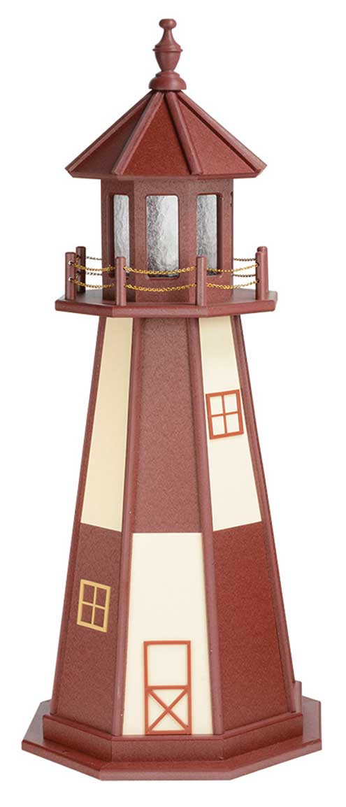 4' Amish Crafted Wood Garden Lighthouse - Cape Henry - Cherrywood & Ivory