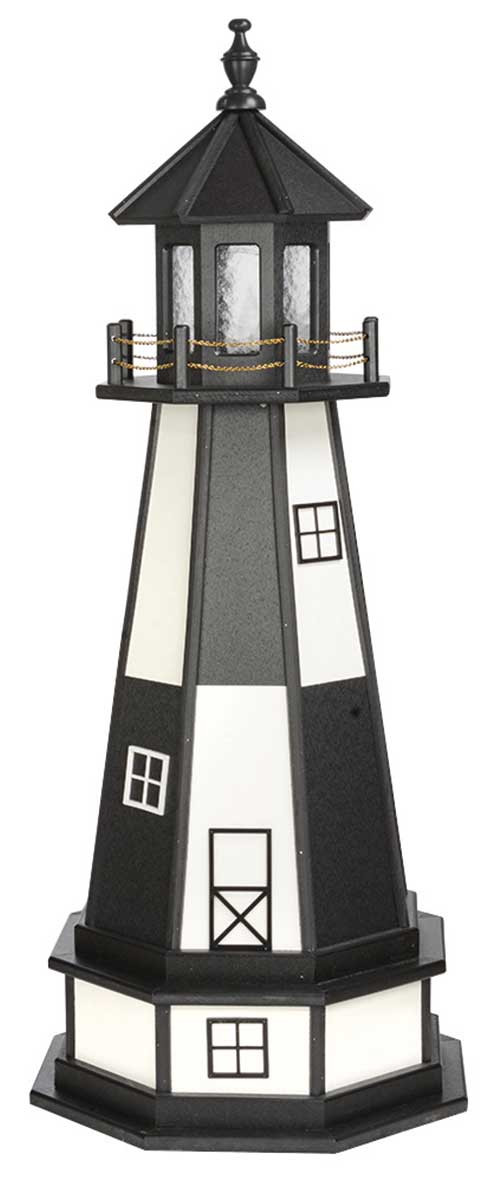 4' Amish Crafted Wood Garden Lighthouse w/ Base - Cape Henry - Black & White