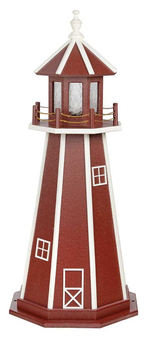 4' Amish Crafted Wood Garden Lighthouse - Custom Painted - Cherrywood & White