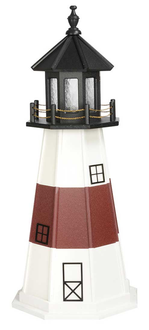 4' Amish Crafted Wood Garden Lighthouse - Montauk - White & Cherrywoood