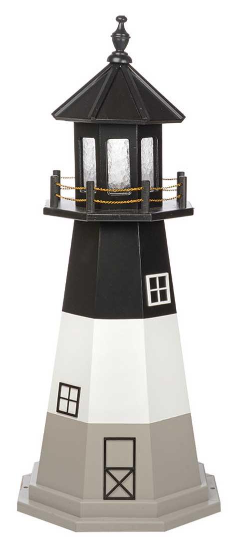 4' Amish Crafted Wood Garden Lighthouse - Oak Island - Black, White & Light Grey