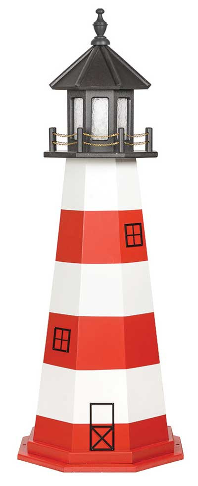 5' Amish Crafted Wood Garden Lighthouse - Assateague - Cardinal Red & White