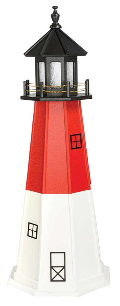 5' Amish Crafted Wood Garden Lighthouse - Barnegat  - Cardinal Red & White